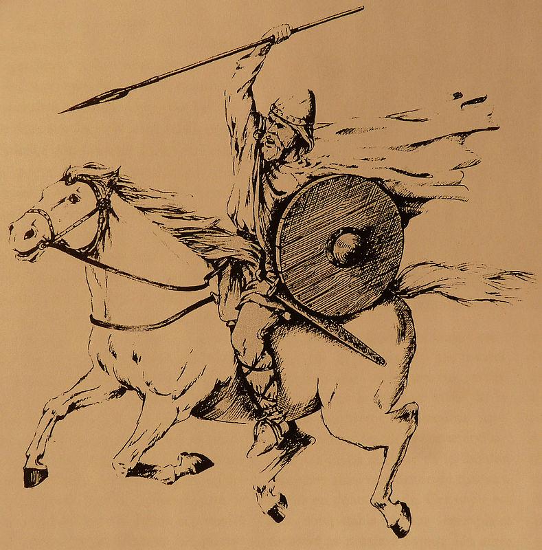 Cavalier viking et son armement reconstitution à partir des armes de Péran